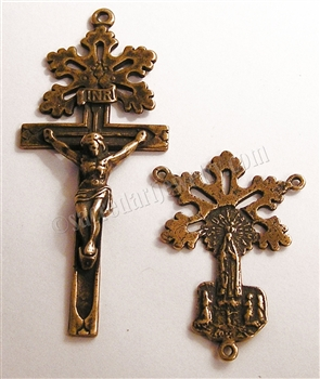 Fatima Radiant Cross & Doves Center Rosary Parts