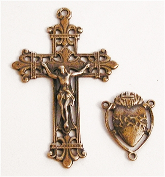 Sacred Heart Fleur de Lis Crucifix & Center Rosary Parts Set