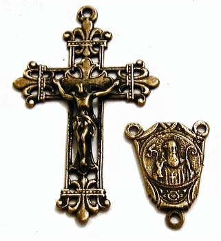 St Benedict Openwork Rosary Parts Set - Sterling Silver or Bronze Religious Replica 813-852