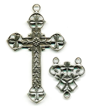 Irish Shamrock Cross & Rosary Center - Double Sided Openwork Rosary Set - Sterling Silver or Bronze #909-910