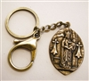 Keychain with Holy Mother of Jesus Medallion, Brass Key Ring & Lobster Clasp