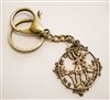 Keychain with an 18th Century St Michael Medallion, Brass Key Ring & Lobster Clasp