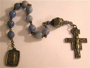 Pocket Handmade Rosary San Damiano Chaplet in Blue Aventurine Gemstones ~ One Decade Catholic Tenner ~ Bronze Travel Rosaries