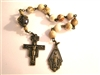 Pocket Handmade San Damiano Art Deco Chaplet in Mexican Crazy Lace Agate Gemstones ~ One Decade Catholic Tenner ~ Bronze Travel Rosaries