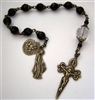 Pocket Handmade St James Sword Chaplet in Black Faceted Onyx Gemstones ~ One Decade Catholic Tenner ~ Bronze Travel Rosaries