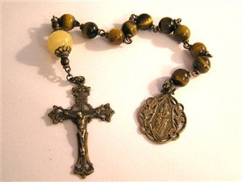 Pocket Handmade Scrolled Openwork Chaplet in Tiger Eye Gemstones ~ One Decade Catholic Tenner ~ Bronze Travel Rosaries