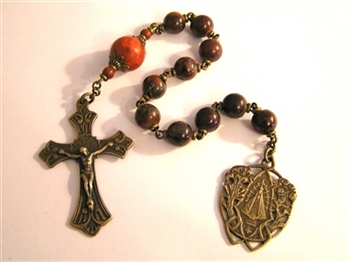 Pocket Handmade Radiant Halo Chaplet in Braciated Jasper Gemstones ~ One Decade Catholic Tenner ~ Bronze Travel Rosaries