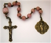Pocket Handmade Textured 9 Angels Chaplet in Rhodonite Gemstones ~ One Decade Catholic Tenner ~ Bronze Travel Rosaries