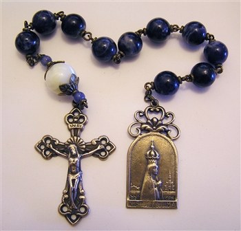 Crowned Fatima Chaplet Tenner in Large 10mm Blue Sodalite & Mother of Pearl Beads True Bronze Pocket Rosary