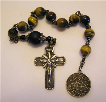 Fatima Radiant Peace Chaplet Tenner in Tiger Eye & Onyx Beads Pocket Rosary in True Bronze