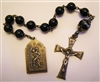 Saint Christopher & Fatima Chaplet Tenner in Large 10mm Black Onyx & Striped Agate Beads Pocket Rosary in True Bronze