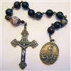 Our Lady of Fatima 1917 Chaplet Tenner in Large 10mm Bloodstone Heliotrope Beads Pocket Rosary in True Bronze