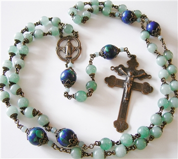 Rosary, Handmade in Bronze, French Double Arm Cross of Lorraine & Miraculous Mary, in Azurite and Aventurine
