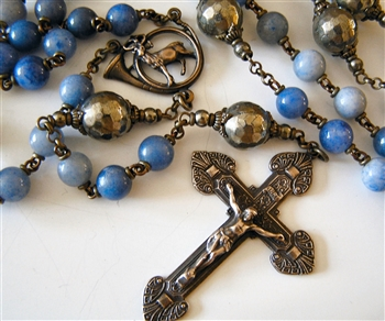 Rosary, Handmade in Bronze, St Hubert Horn & Elegant Crucifix from Spain, in Pyrite & Blue Aventurine