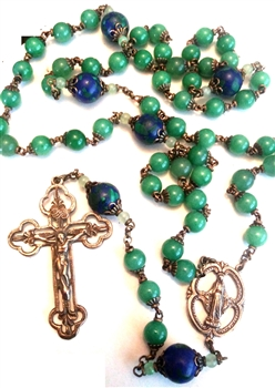 Miraculous Mary Openwork Handmade Gemstone Rosary in Aventurine and Azurite