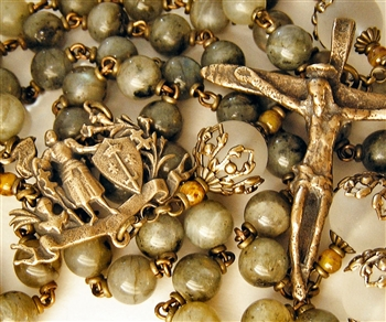 Joan of Arc with Antiquity Crucifix Handmade Gemstone Rosary in Labradorite and Matte Rock Crystal