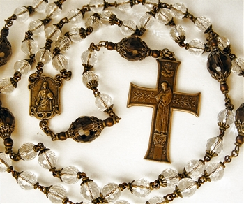 St Francis Prayer Cross & Our Lady of Lourdes Handmade Gemstone Rosary in Faceted Rock Crystal and Smokey Quartz