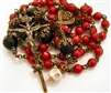 Scarlet Red Skull & Bones Winged Angel Handmade Rosary in Natural Crystals and Black Onyx