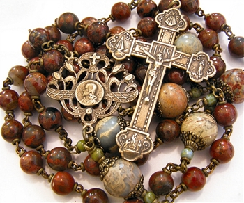 Four Virgins Handmade Gemstone Rosary in Brecciated Jasper & African Opal True Bronze Large
