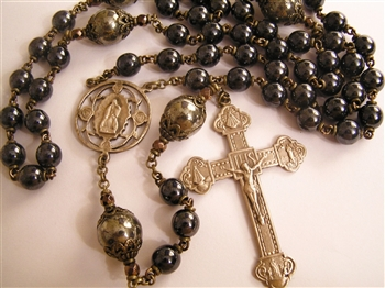 Four Virgins Handmade Gemstone Rosary in Hematite True Bronze Large