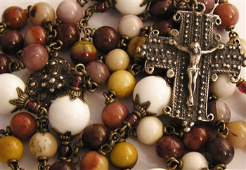 Four Virgins Handmade Gemstone Rosary in Brecciated & Aqua Terra Jasper True Bronze Large