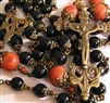 Handmade Rosary with Large Pieces from Ecuador, Quechua Style in Black Onyx and Red Coral