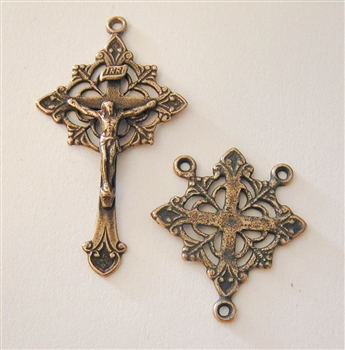 Rosary Parts Set Lotus Crucifix and Center - Sterling Silver or Bronze Antique or Vintage Replicas