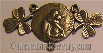 Mater Dei with Clover Rosary Center 7/8 x 1 1/2""