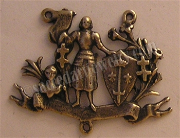 Saint Joan of Arc With Shield Rosary Center 1 1/2""