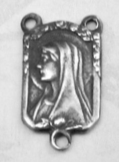 Virgin Mary Profile Square Rosary Center 5/8""
