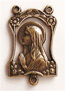 Virgin Mary Framed with Roses Rosary Center 1""