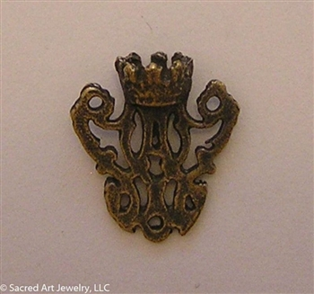 Auspice Ave Maria Rosary Center with Crown 1/2""