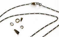Antiqued Bronze 2mm Figaro Very Strong Chain Necklace with Gift Box, Conditioned, Lobster Clasp, Large End Ring - Removable Bail