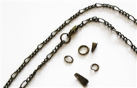 Antiqued Bronze 3.5mm Figaro Chain Necklace with Gift Box, Conditioned, Lobster Clasp, Large End Ring - Removable Bail