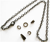 Antiqued Bronze 3mm Curb Figaro Chain Necklace with Gift Box, Conditioned, Lobster Clasp, Large End Ring - Removable Bail