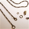 Antiqued Bronze 3mm Figaro Chain Necklace with Gift Box, Conditioned, Lobster Clasp, Large End Ring - Removable Bail