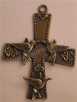 "Cross, Three Birds, Russia. Available in bronze or sterling. 2 1/2"" long."