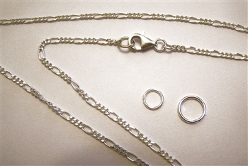 "925 Sterling Silver Chain Necklace Figaro Style Diamond Cut Chain Necklace 36"" or 91cm"