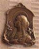 Sterling Silver Medal, Virgin Mary w/Lilies, France. Art Nouveau 1 1/4""