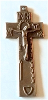White Bronze Irish Penal Crucifix 2""
