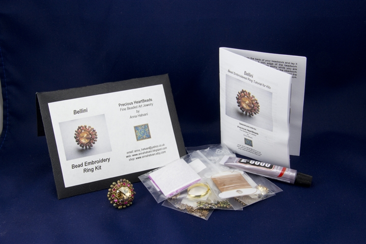Limited edition bead embroidery ring kit bellini