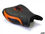 Luimoto Front Seat Cover | Suzuki HAYABUSA GSXR1300 08-12 - Black/ FIRE Orange/ Orange Stitch/ Black,FIRE Orange Embroidery