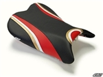 Luimoto Front Seat Cover | Luckey Strike | 06-07 GSXR 600 / 750 Suzuki - CF Black/CF Red/White/Deep Gold