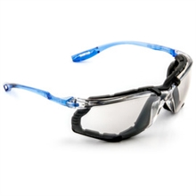 3M 3MR11874-00000 Virtua CCS Safety Glasses With Blue And Clear Polycarbonate Frame, Silver Mirror Indoor/Outdoor Polycarbonate Anti-Fog Lens And Foam Gasket Attachment, Per Pair