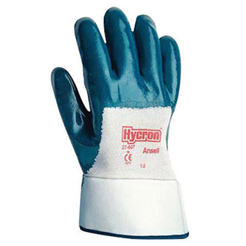 Ansell ANE27-600-8 Size 8 Hycron Heavy Duty Multi-Purpose Cut And Abrasion Resistant Blue Nitrile Palm Coated Work Gloves With Jersey Liner And Knit Wrist
