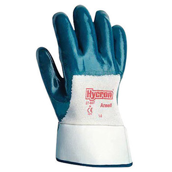 Ansell ANE27-607-10 Size 10 Hycron Heavy Duty Multi-Purpose Cut And Abrasion Resistant Blue Nitrile Palm Coated Work Gloves With Jersey Liner And Safety Cuff