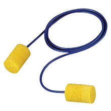 3M CAS311-1081 Single Use Classic Cylinder Shape PVC Foam Corded Earplugs With Vinyl Cord