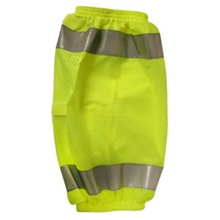 Lime Mesh Leg Gaiters, Silver Reflective Tape, Three Hook & Loop Straps, Elastic on Both Ends, One Size Fits All, Type R Class E, Per Pr
