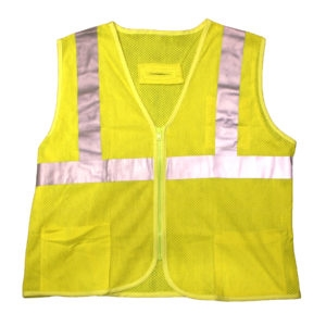 Cor-Brite Type R, Class II FR Modacrylic Lime Mesh Vest, 5.8oz Glenguard Modacrylic/Aramid Mesh, Zipper Closure, 2-Inch silver Reflective Tape