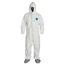DuPont DPPTY122SWH5X00 5X White Safespec 2.0 5.4 mil Tyvek Disposable Coveralls With Front Zipper Closure, Elastic Waist And Set Sleeves